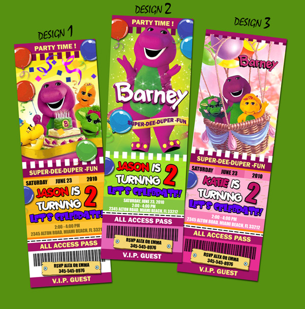 barney_tic_presentation3 barney the dinosaur birthday party invitation ticket 1st custom,Barney Birthday Invitations