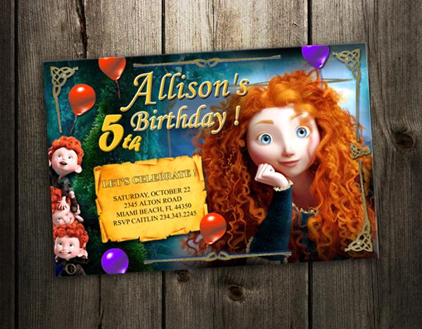 Brave Merida Disney Birthday Party Invitation Photo Card Custom