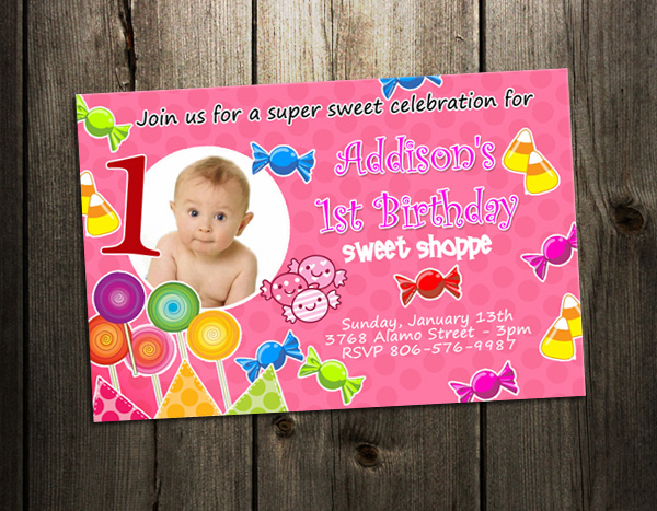 CANDYLAND LAND CANDY BIRTHDAY PARTY INVITATION CUSTOM 1ST lollipop – Candyland Party Invites