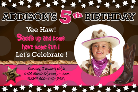 COWBOY WESTERN HORSE BIRTHDAY PARTY INVITATION custom 1ST c8 – Cowboy First Birthday Invitations
