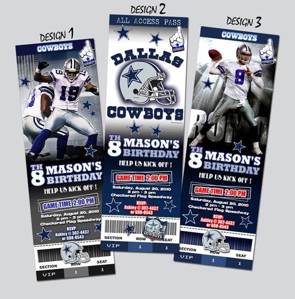 DALLAS COWBOYS TICKET BIRTHDAY PARTY INVITATION FOOTBALL NFL – Dallas Cowboys Birthday Invitations