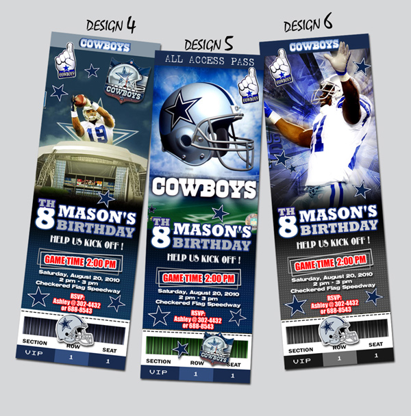 DALLAS COWBOYS TICKET BIRTHDAY PARTY INVITATION FOOTBALL NFL – Dallas Cowboys Party Invitations