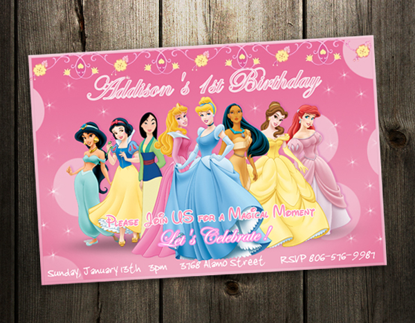 Disney Princess Birthday Party Invitation Ticket Card Custom Invites 3