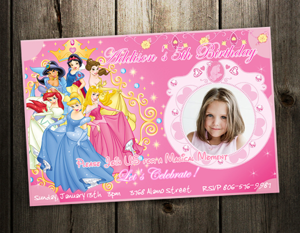 disney princess birthday party invitation card custom invites, Birthday invitations