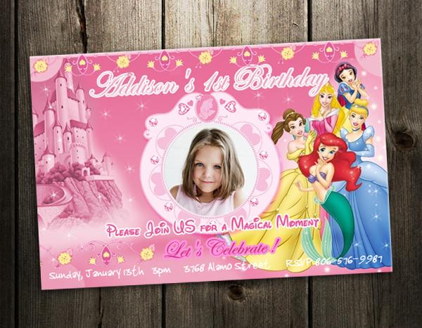 Disney Princess Birthday Party Invitation Photo Card Custom Invites