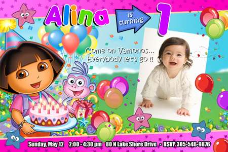 dora the explorer birthday party invitation 1st custom boots diego, Birthday invitations