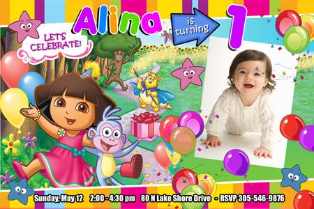 DORA THE EXPLORER BIRTHDAY PARTY INVITATION 1ST CUSTOM INVITE – Dora the Explorer Birthday Invitations