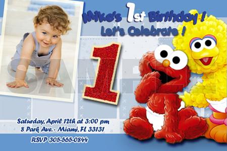 elmo sesame street birthday party invitation photo st baby custom, Birthday invitations