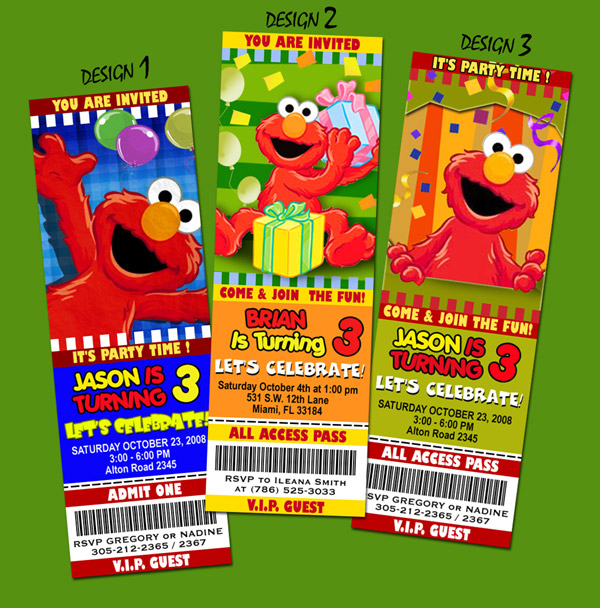 Elmo Sesame Street Birthday Party Invitation Ticket 1st Baby Babies First C1 | eBay
