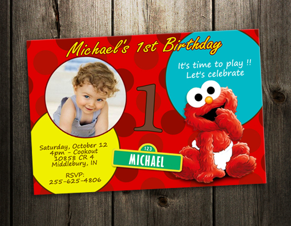 elmo sesame street party invitation birthday card baby first, Birthday invitations