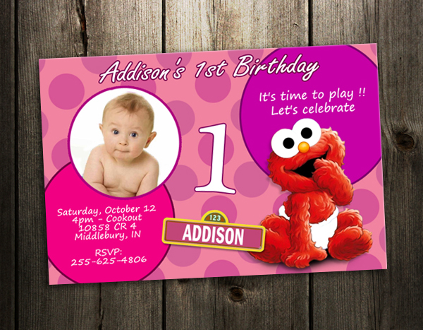 Elmo Sesame Street Party Invitation Birthday Photo Baby Custom Invite