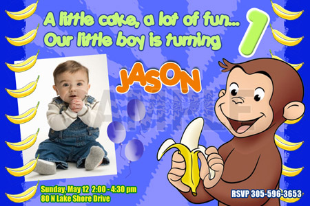 CURIOUS GEORGE 1ST BIRTHDAY PARTY INVITATION C6 PHOTO 20 NEW – Curious George Birthday Cards
