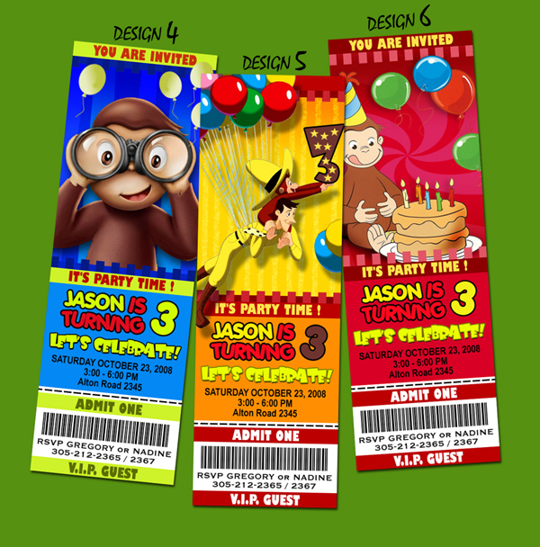 curious george birthday party invitation ticket photo st c, Birthday invitations