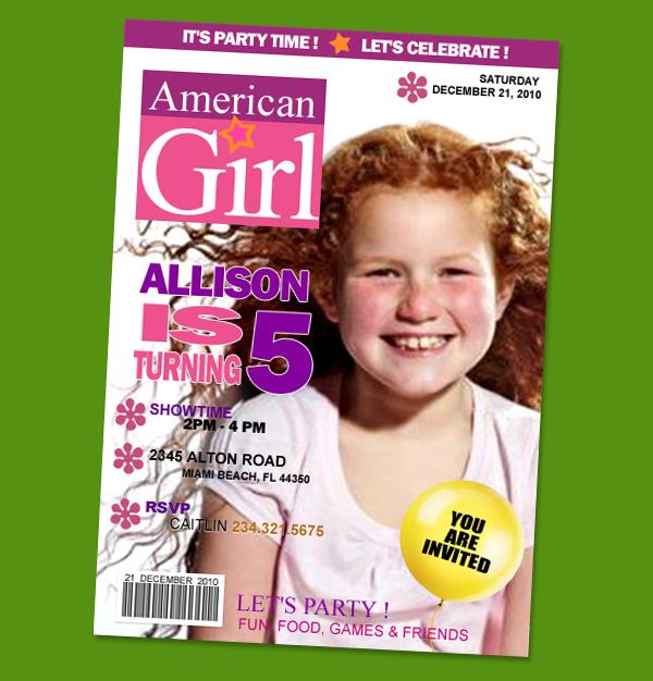 AMERICAN GIRL DOLL BIRTHDAY PARTY INVITATION PHOTO 1ST – American Girl Doll Party Invitations