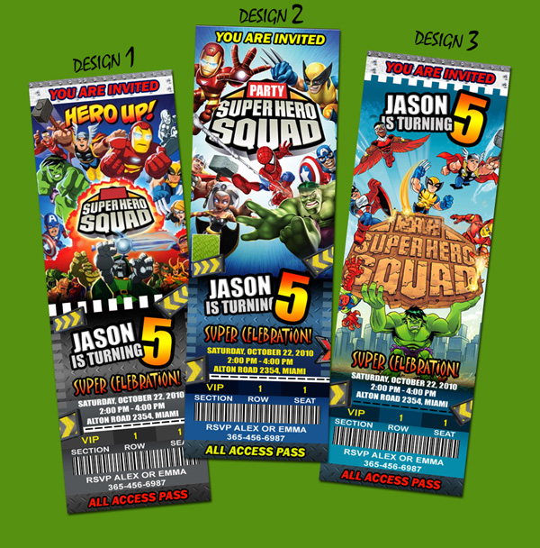 SUPER HERO SQUAD BIRTHDAY PARTY INVITATION TICKET SPIDERMAN HULK – Superheroes Party Invitations