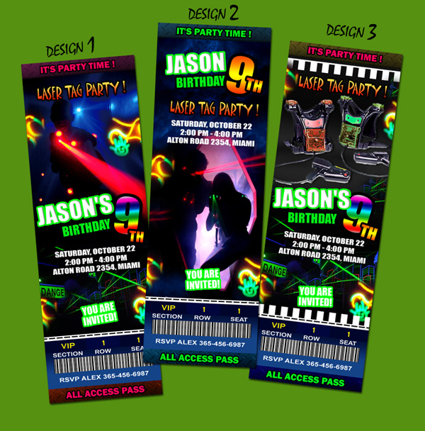 It is an image of Nifty Printable Laser Tag Birthday Invitations