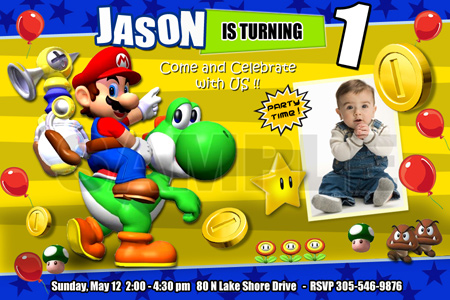 SUPER MARIO BROS BIRTHDAY PARTY INVITATION PHOTO BROTHERS CUSTOM – Super Mario Bros Party Invitations