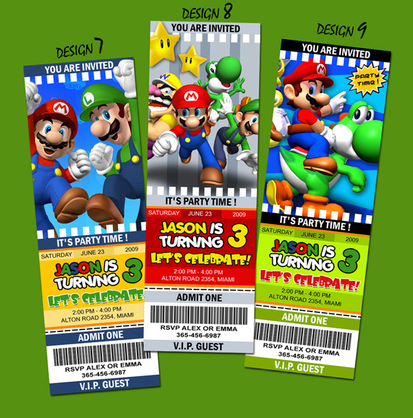designs  super mario bros birthday party invitation ticket, Birthday invitations