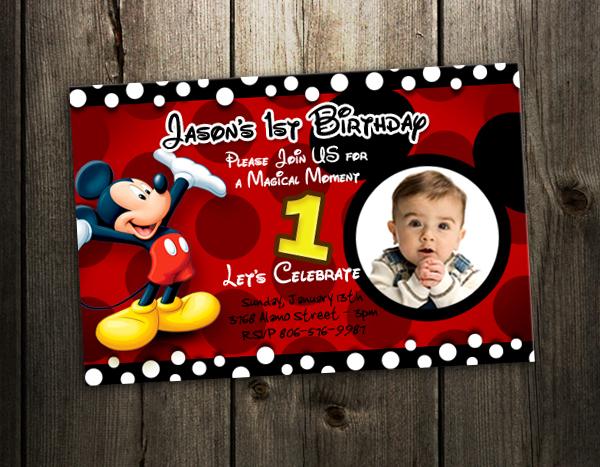 mickey mouse birthday invitation party card custom invite st f, Birthday invitations