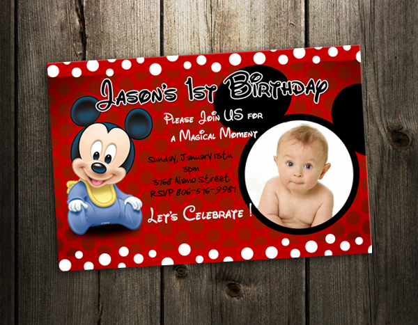 mickey mouse custom birthday invitation party card photo invite n6, Birthday invitations