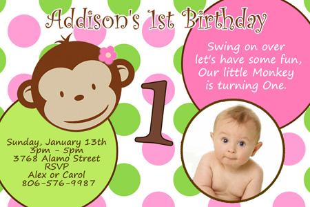 MOD MONKEY BIRTHDAY PARTY INVITATION PHOTO 1ST BABY SHOWER CUSTOM ...