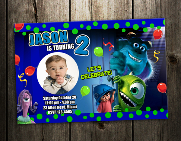 monster_inc_w monsters inc university birthday party invitation card invite 1st,Monsters Inc Birthday Invitations