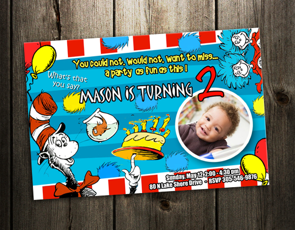 Dr Seuss Cat In The Hat Birthday Party Invitation Card Custom Invite