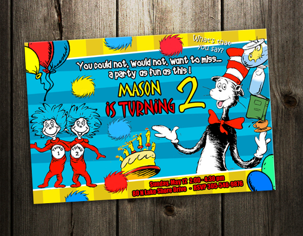 dr seuss birthday party invitation cat in the hat card custom, party invitations