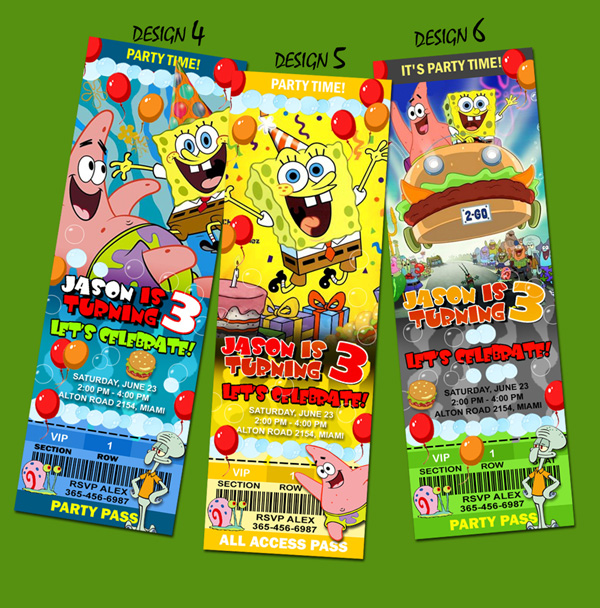 spongebob birthday party invitation ticket sponge bob st c, party invitations