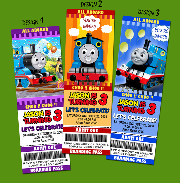 9 new designs !! thomas the tank train birthday party invitation, Party invitations