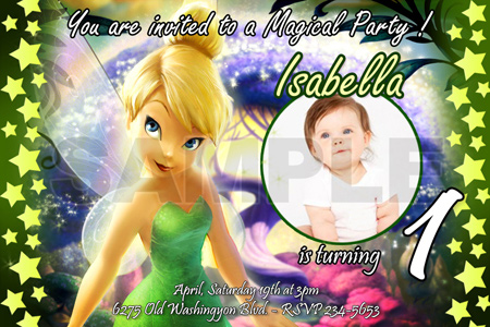 10 designs TINKERBELL FAIRIES BIRTHDAY PARTY INVITATION PHOTO – Fairy Birthday Party Invitations