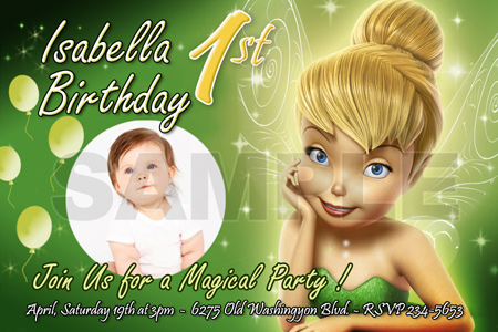 10 designs ! tinkerbell fairies birthday party invitation photo, Party invitations