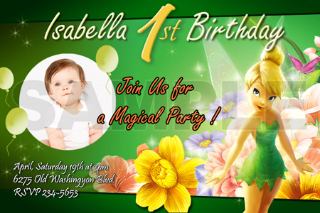 TINKERBELL FAIRIES BIRTHDAY PARTY INVITATION PHOTO 1ST INVITE CARD – Tinkerbell Birthday Card