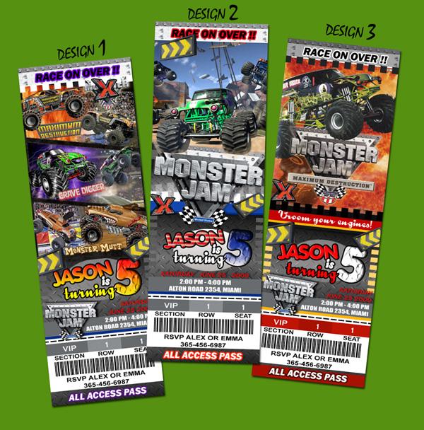 Monster Truck Grave Digger Birthday Party Invitation | eBay